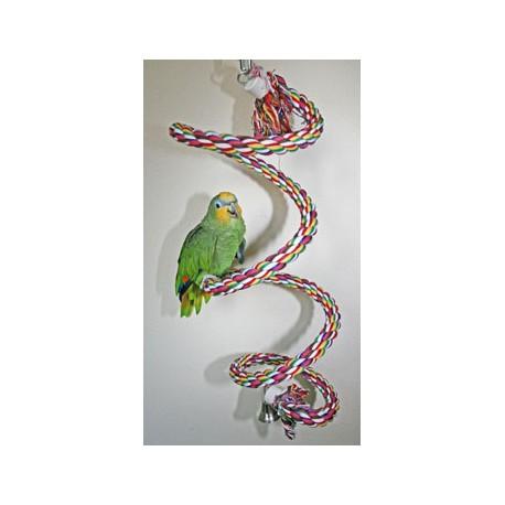 Corda Colorata Elicoidale Con Campanello 28 Mm Per Pappagallo