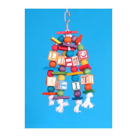 Wooden Cube - Gioco Educativo a Pendaglio per Pappagallo