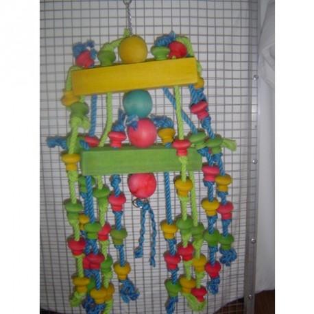 Gioco Pappagallo in Legno e Corda Wooden Rope Toy