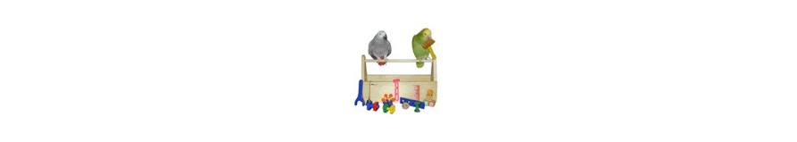 Giochi in cord a e legno per pappagallo