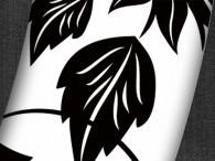 000C - Fiore Asia nero su fondo bianco, bordo nero