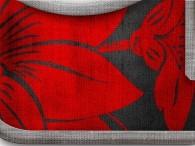 007  - Fiore Rosso su nero, bordo scuro