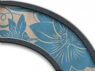 009  - Fiore Azzurro antico su beige, bordo scuro