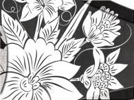013D - Fiore Asia in bianco su nero