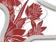 016B - Fiore Asia Rosso antico su bianco