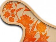 017E - Fiore Asia Arancione su Beige
